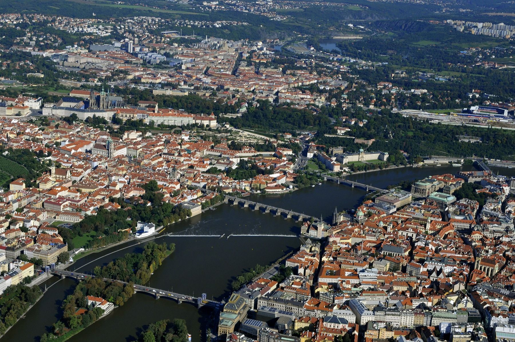 Praha z letadla